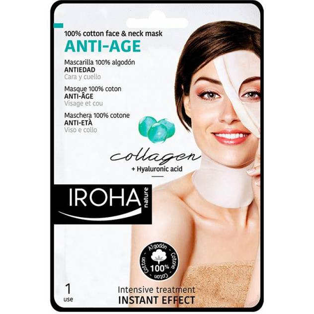 100% COTTON FACE & NECK MASK collagen-antiage 1 utilizare